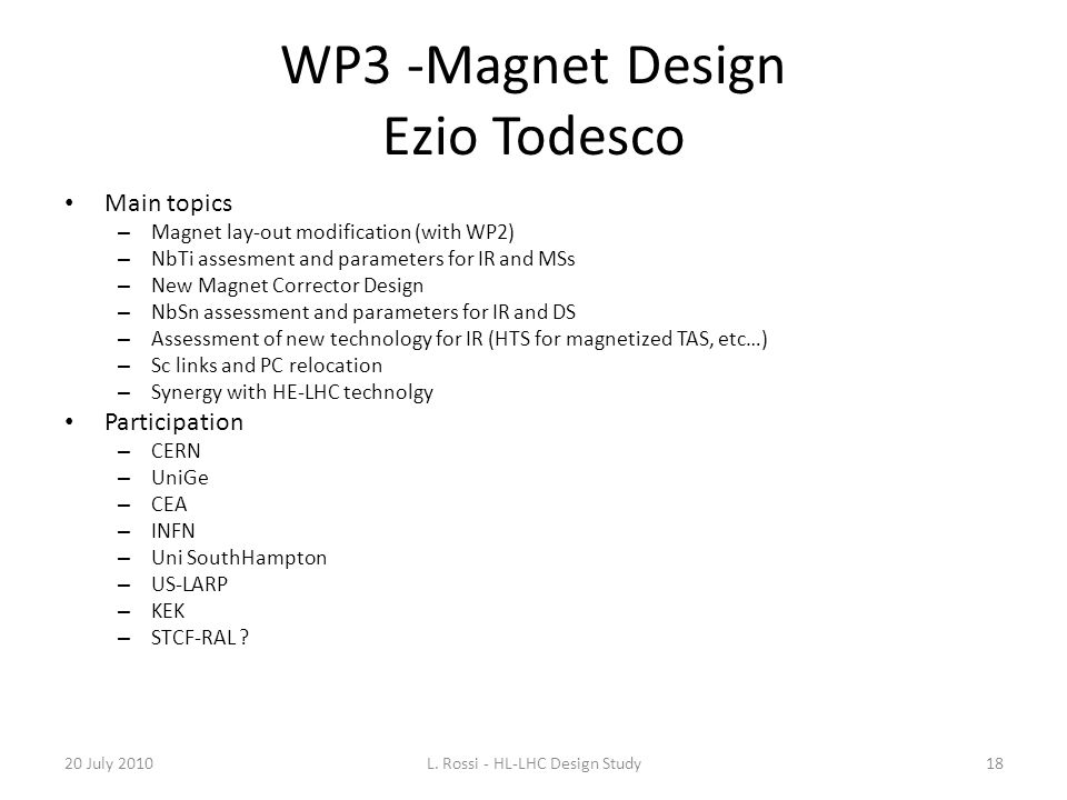 WP3 -Magnet Design Ezio Todesco