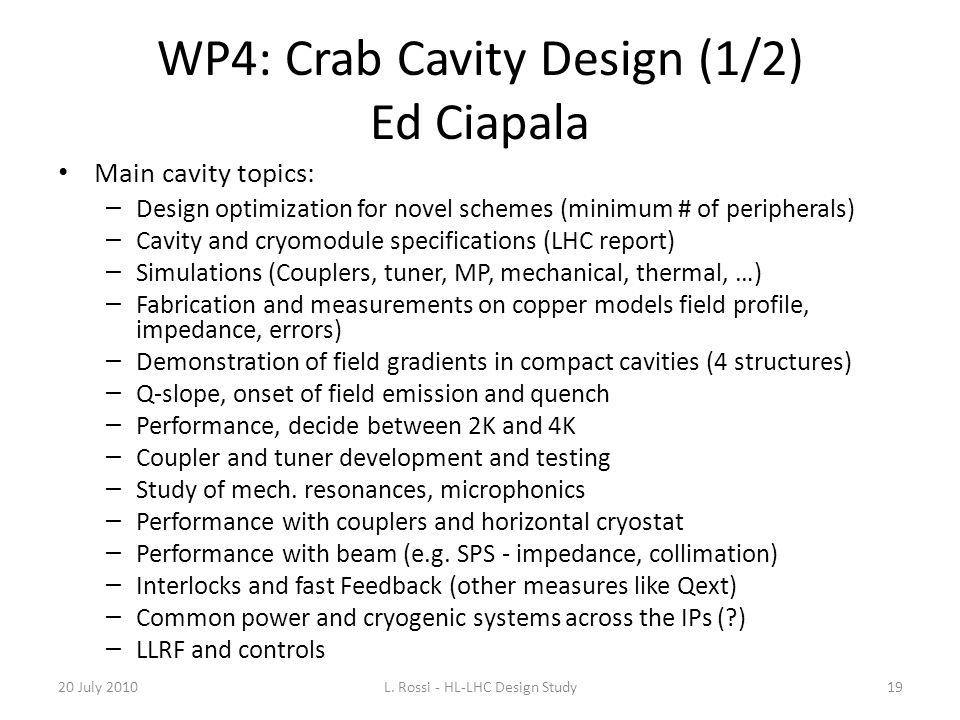 WP4: Crab Cavity Design (1/2) Ed Ciapala