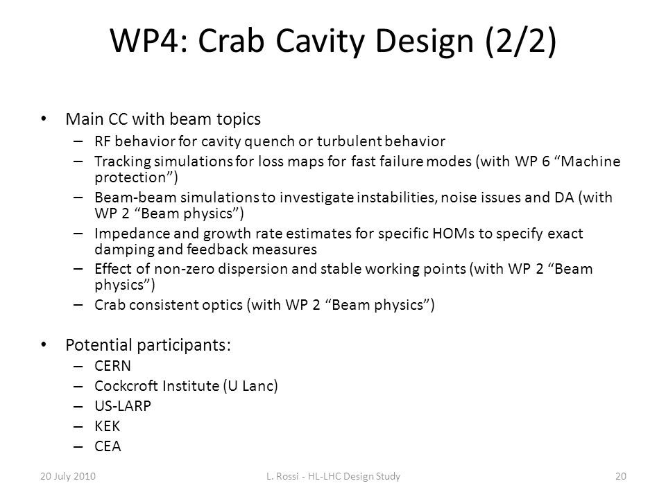WP4: Crab Cavity Design (2/2)