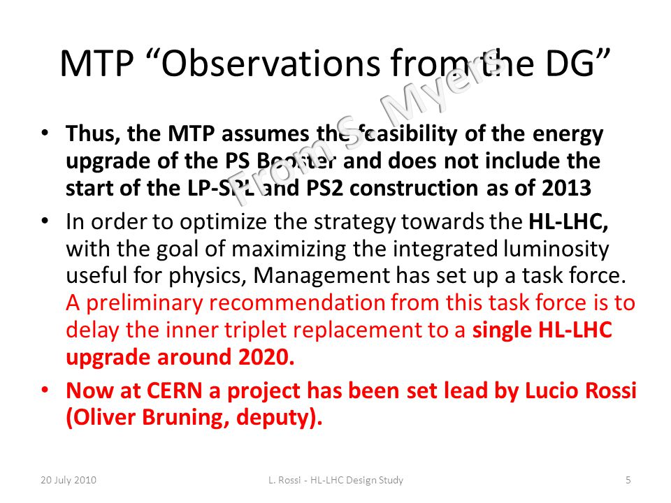 MTP Observations from the DG
