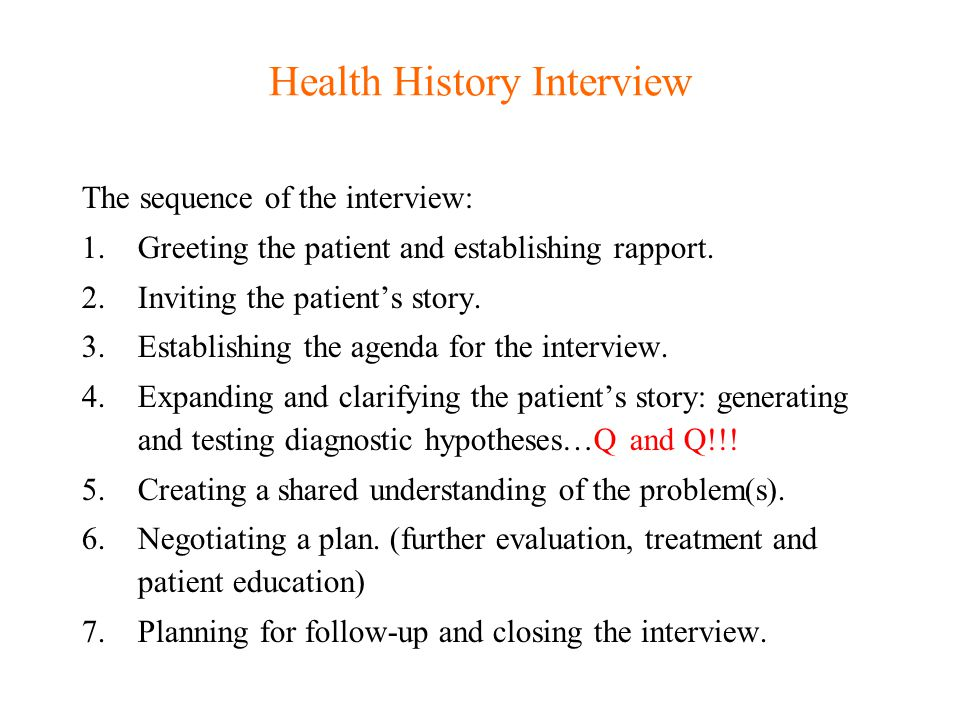 Health History Interview