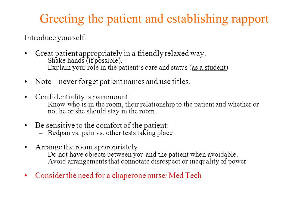 Greeting the patient and establishing rapport