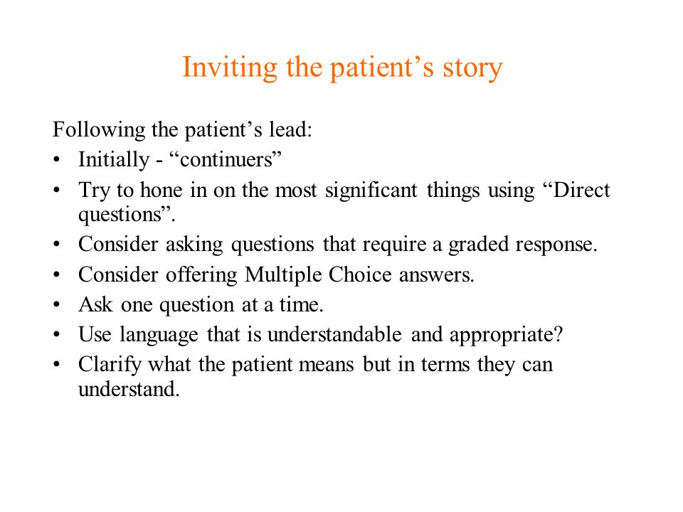 Inviting the patient's story