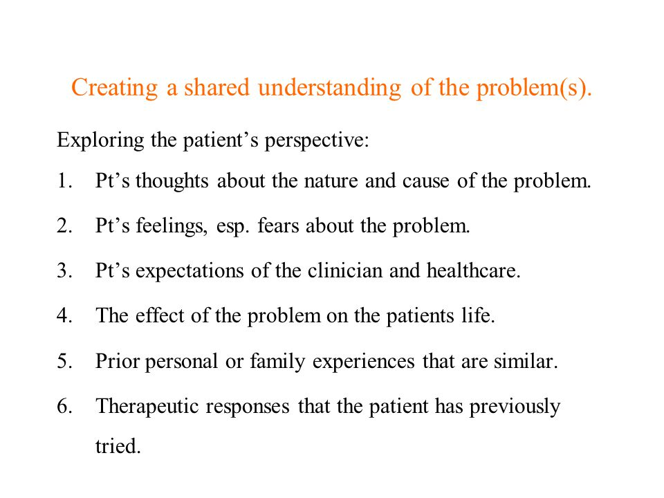 Creating a shared understanding of the problem(s).
