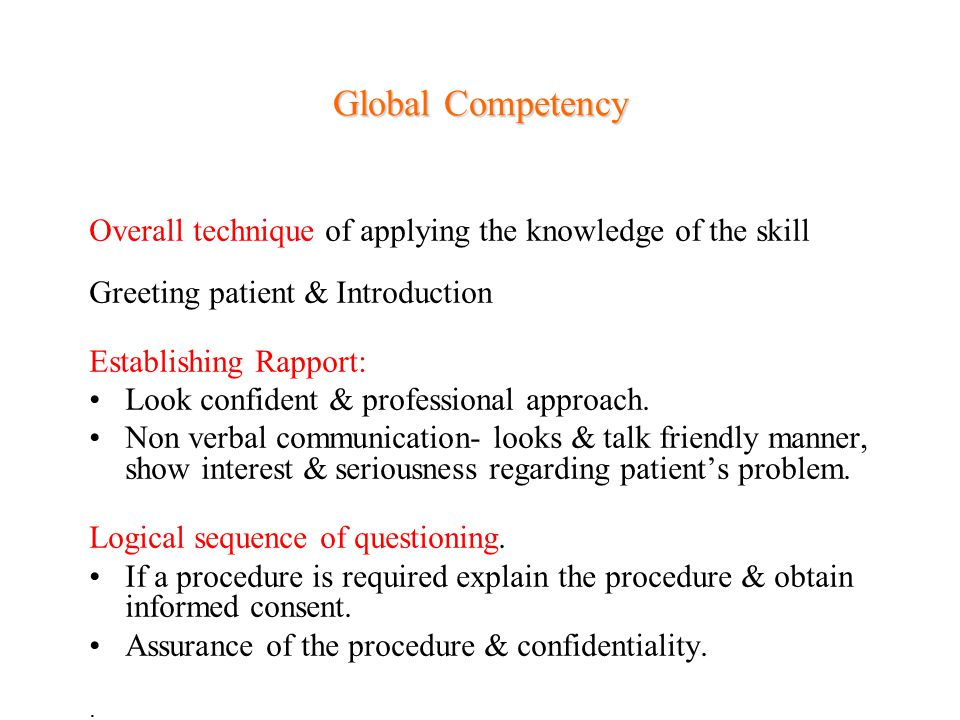 Global Competency Overall technique of applying the knowledge of the skill. Greeting patient & Introduction.