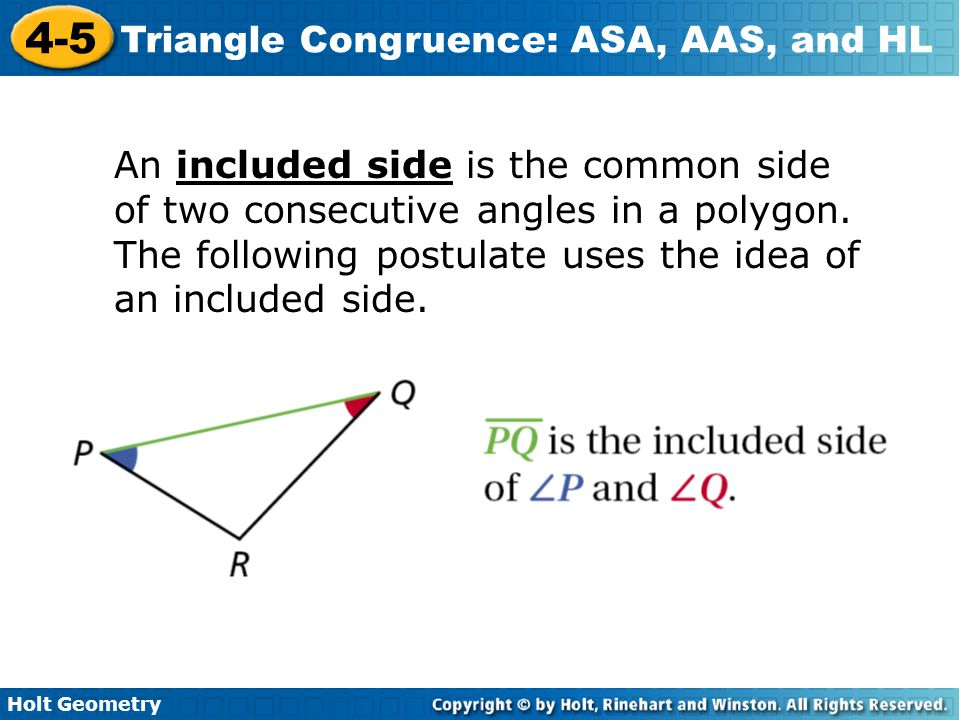 An included side is the common side of two consecutive angles in a polygon.