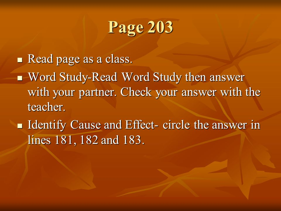 Page 203 Read page as a class.