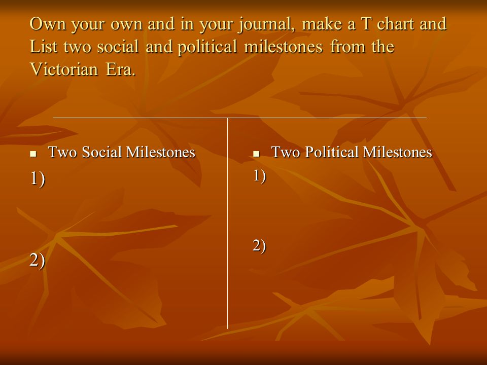 Own your own and in your journal, make a T chart and List two social and political milestones from the Victorian Era.