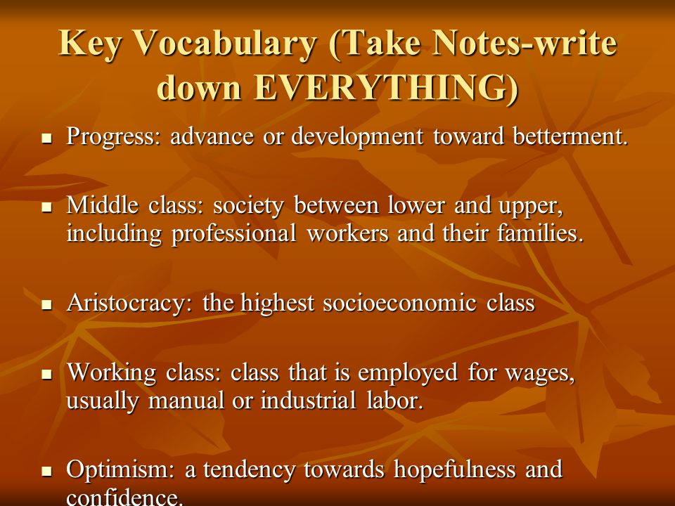 Key Vocabulary (Take Notes-write down EVERYTHING)