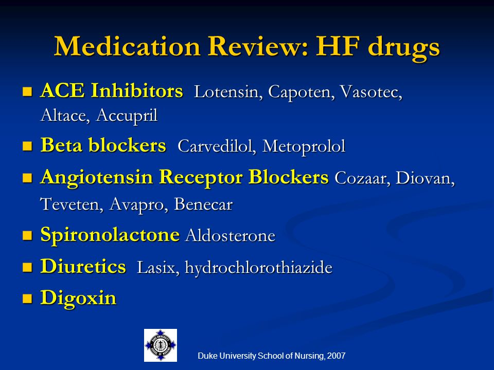 Medication Review: HF drugs