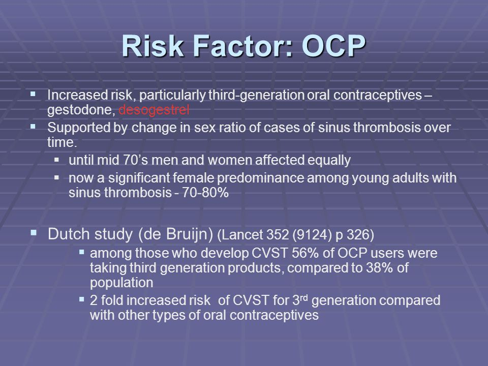 Risk Factor: OCP Dutch study (de Bruijn) (Lancet 352 (9124) p 326)