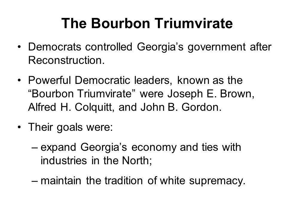 The Bourbon Triumvirate