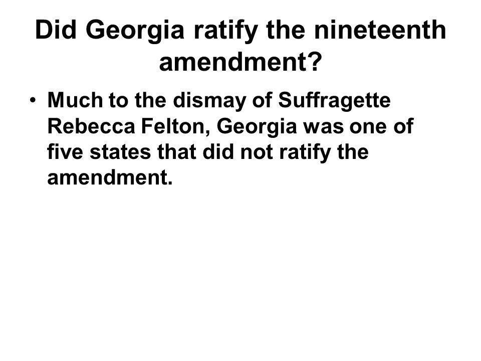Did Georgia ratify the nineteenth amendment