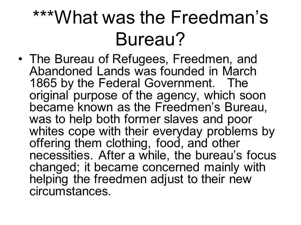 ***What was the Freedman's Bureau