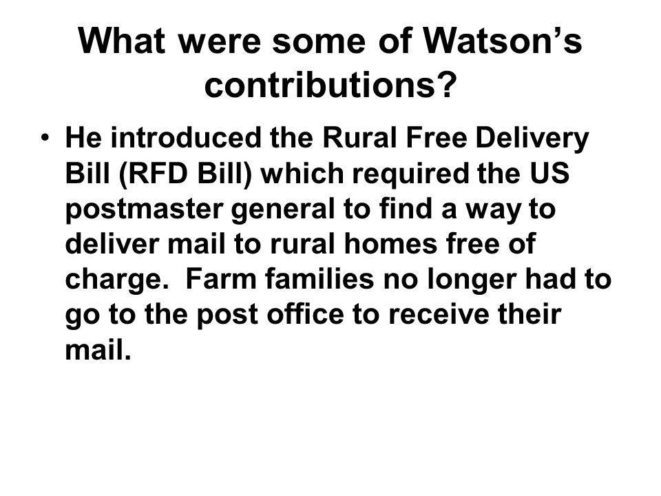 What were some of Watson's contributions