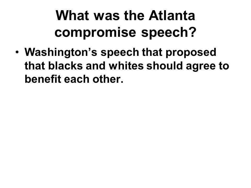 What was the Atlanta compromise speech