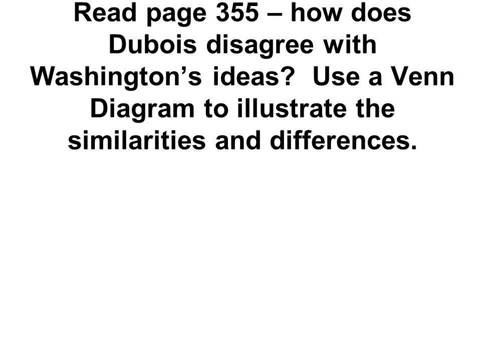 Read page 355 – how does Dubois disagree with Washington's ideas