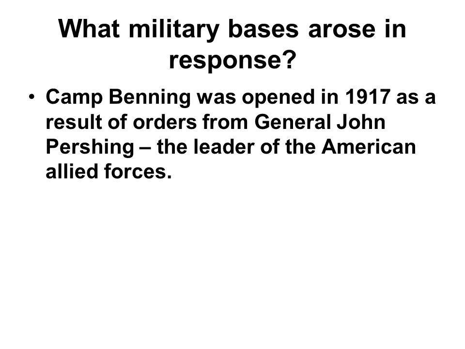 What military bases arose in response