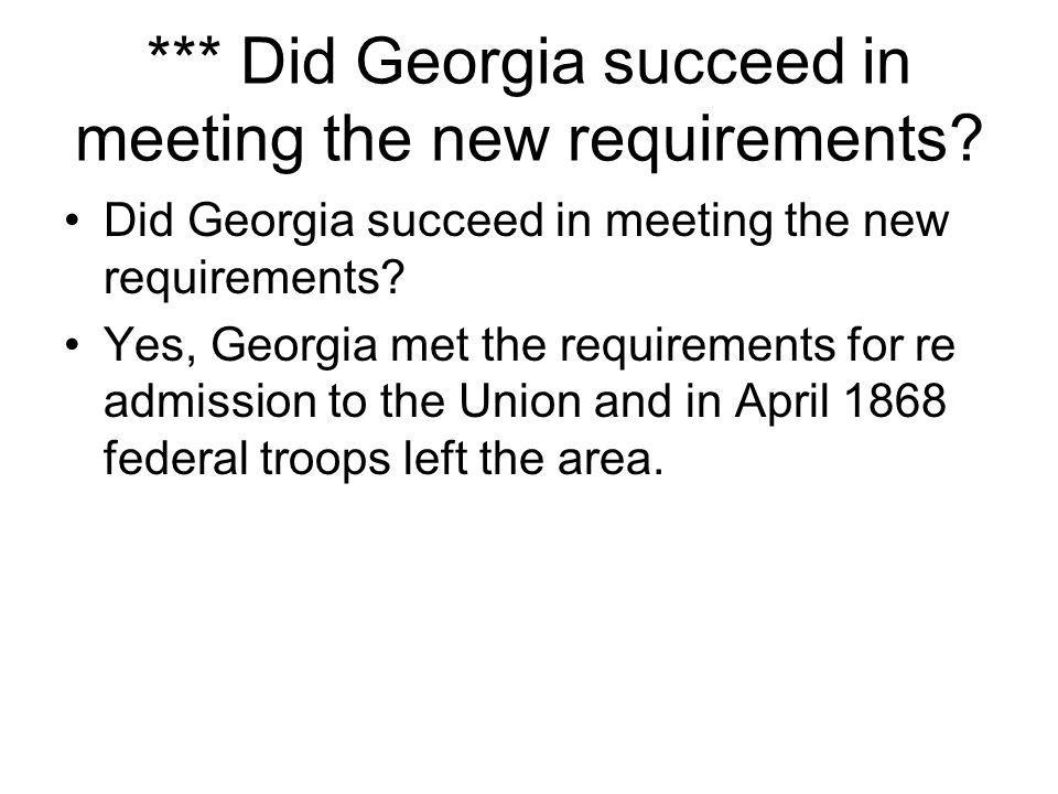 *** Did Georgia succeed in meeting the new requirements