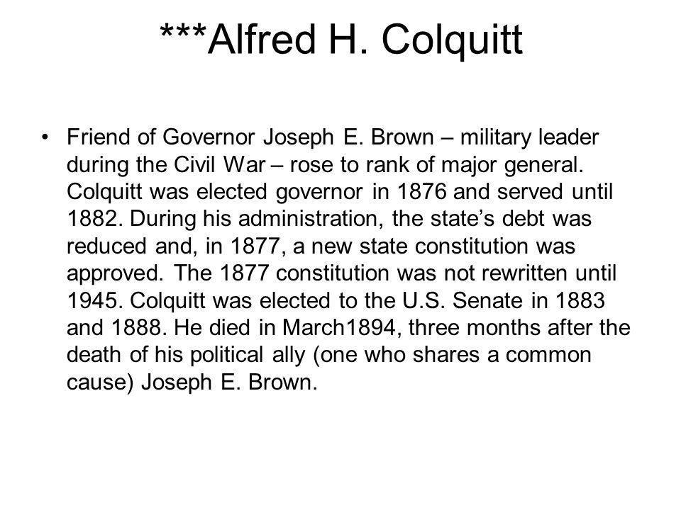 ***Alfred H. Colquitt