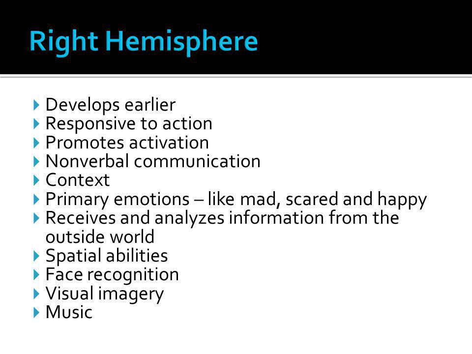 Right Hemisphere Develops earlier Responsive to action