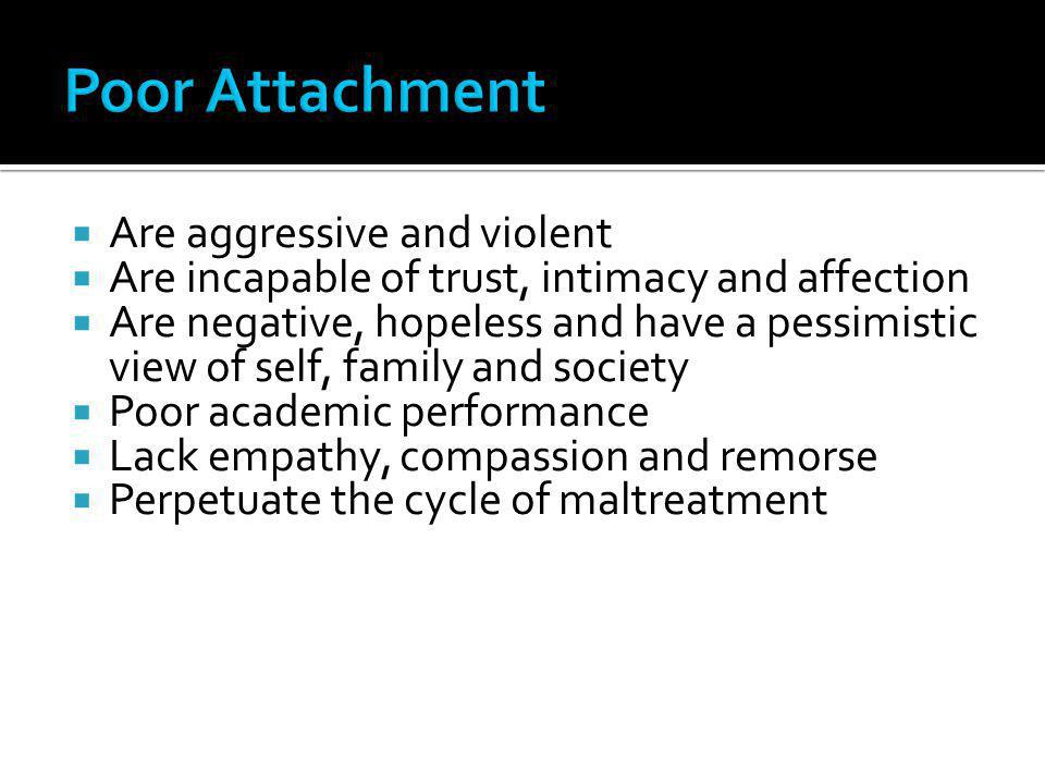 Poor Attachment Are aggressive and violent