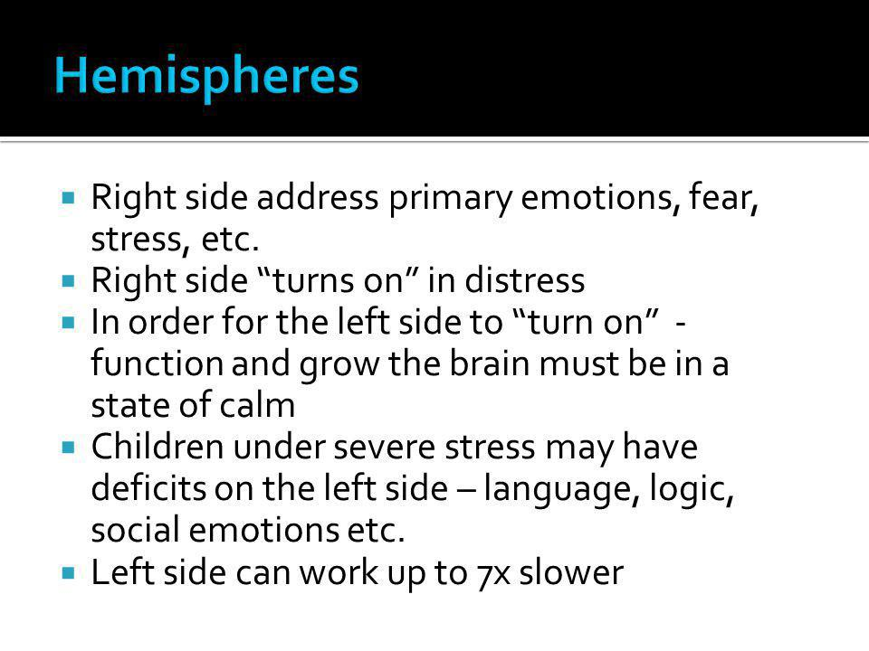Hemispheres Right side address primary emotions, fear, stress, etc.