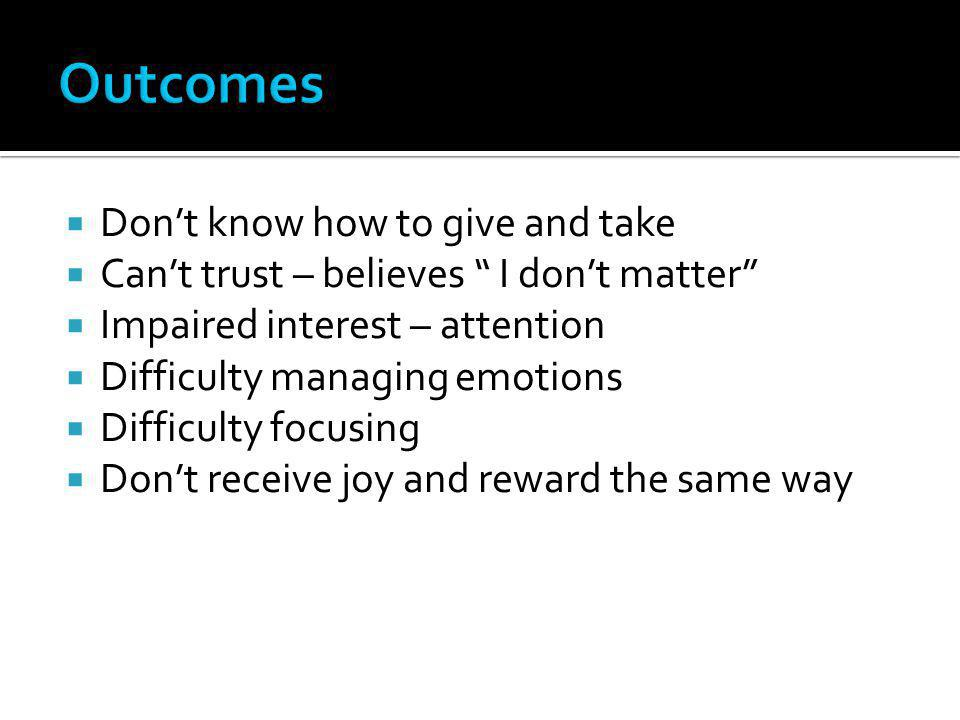 Outcomes Don't know how to give and take
