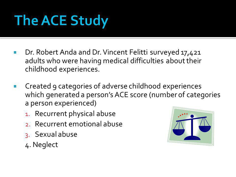 The ACE Study Dr. Robert Anda and Dr. Vincent Felitti surveyed 17,421 adults who were having medical difficulties about their childhood experiences.