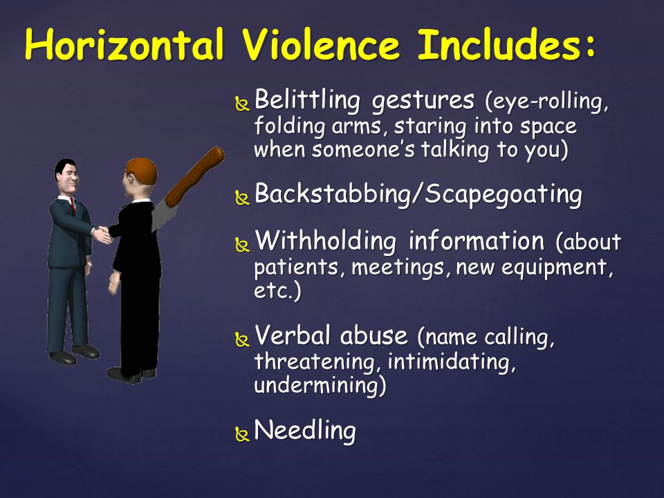Horizontal Violence Includes: