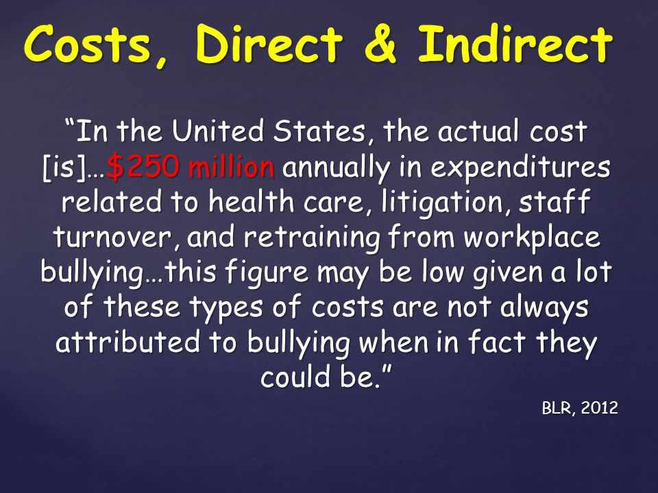 Costs, Direct & Indirect