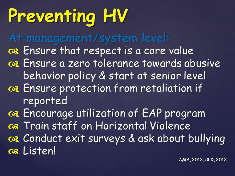 Preventing HV At management/system level: