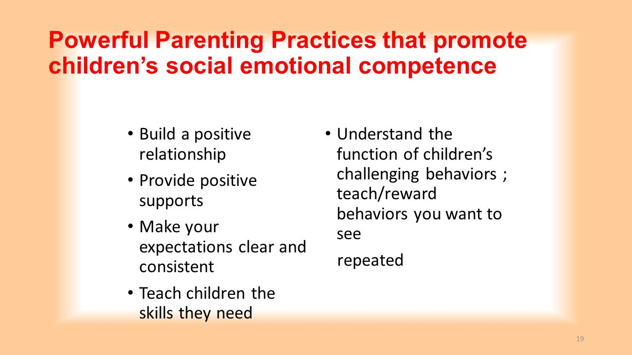 Powerful Parenting Practices that promote children's social emotional competence
