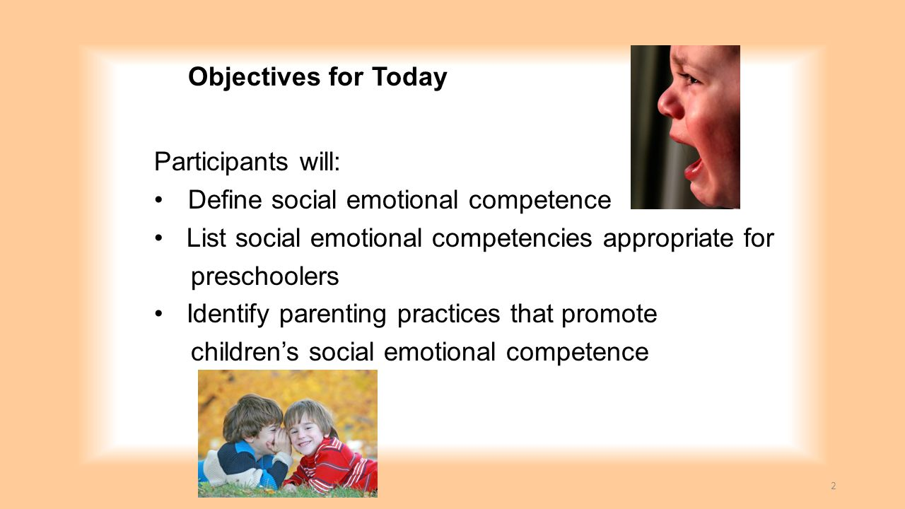Objectives for Today Participants will: Define social emotional competence. List social emotional competencies appropriate for.