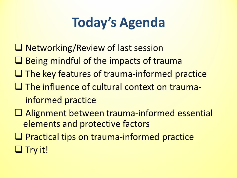 Today's Agenda Networking/Review of last session