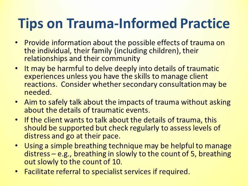 Tips on Trauma-Informed Practice