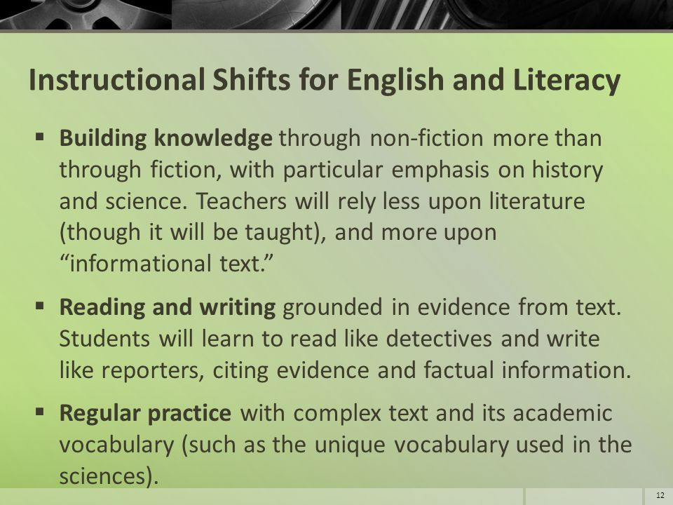 Instructional Shifts for English and Literacy