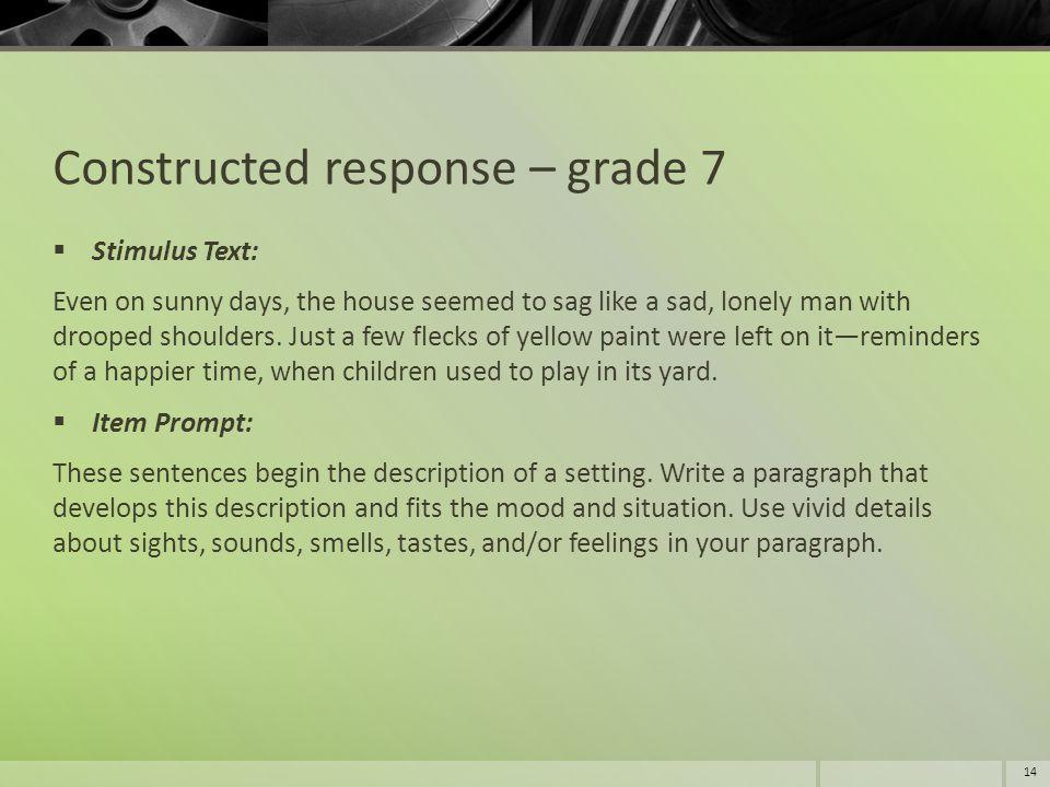 Constructed response – grade 7