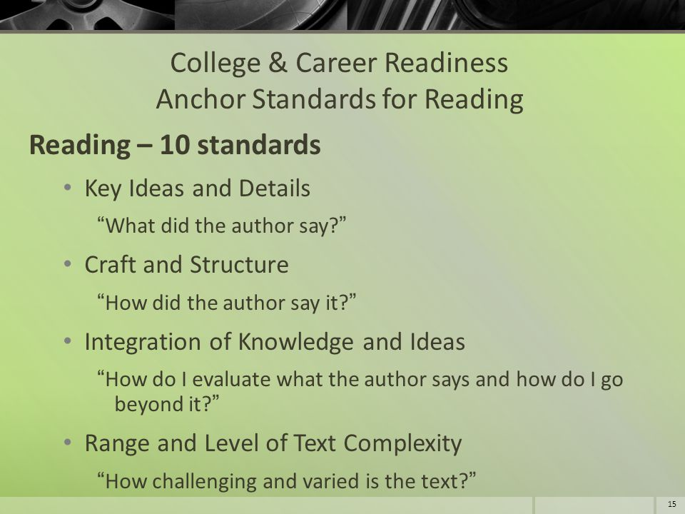 College & Career Readiness Anchor Standards for Reading