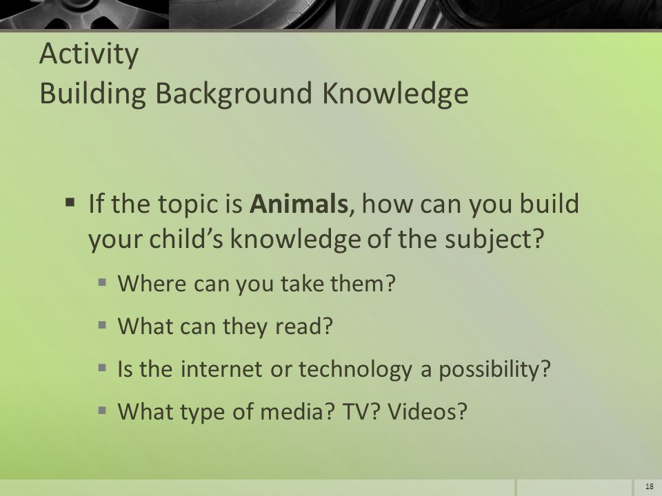 Activity Building Background Knowledge