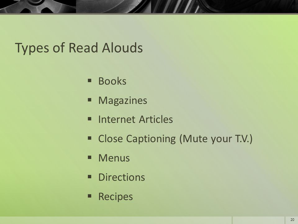 Types of Read Alouds Books Magazines Internet Articles