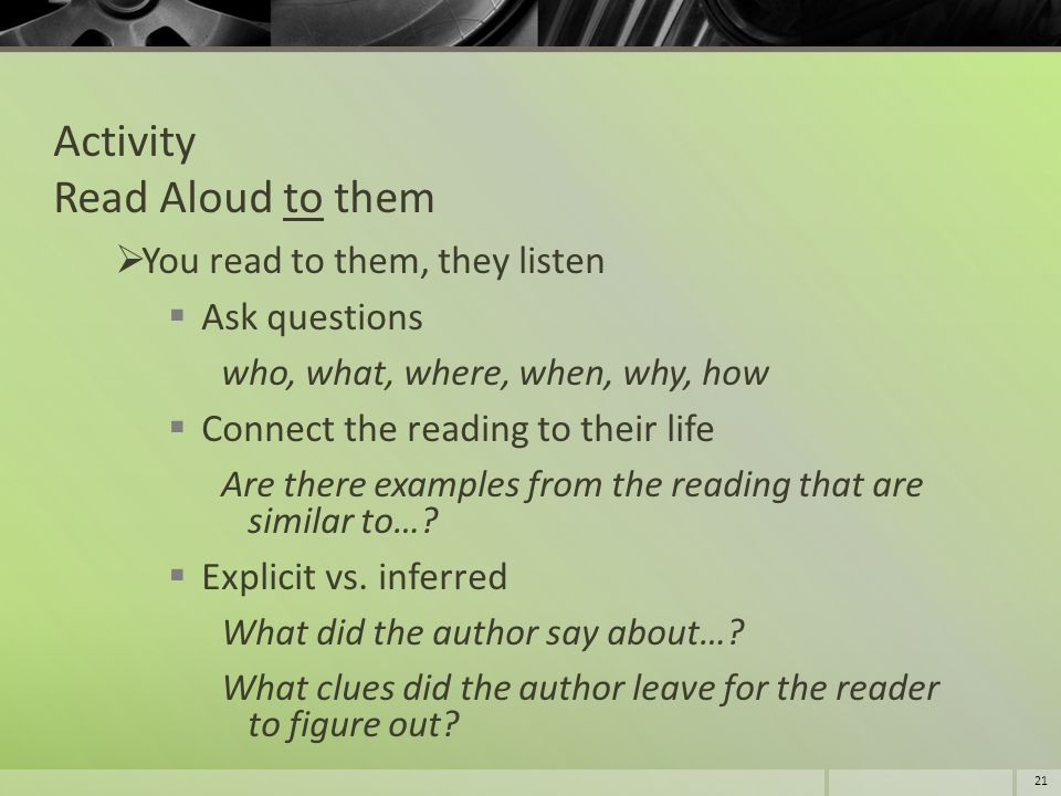 Activity Read Aloud to them