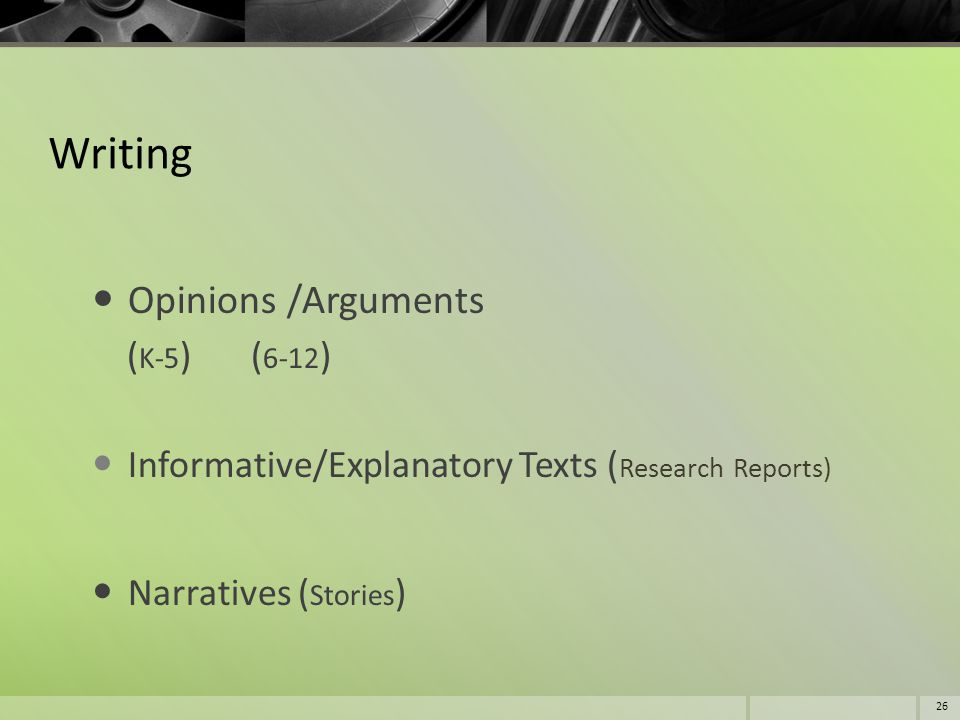 Writing Opinions /Arguments (K-5) (6-12)