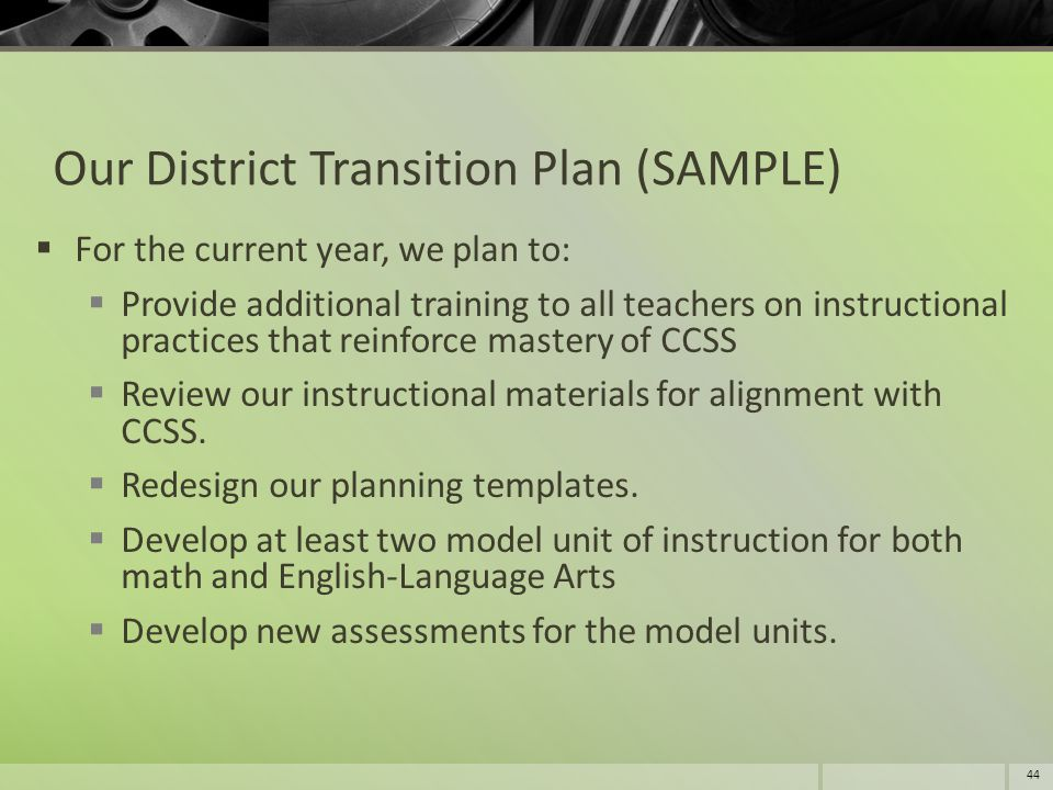 Our District Transition Plan (SAMPLE)