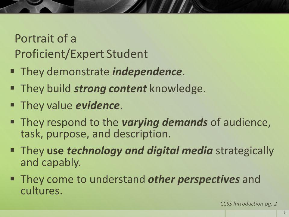 Portrait of a Proficient/Expert Student