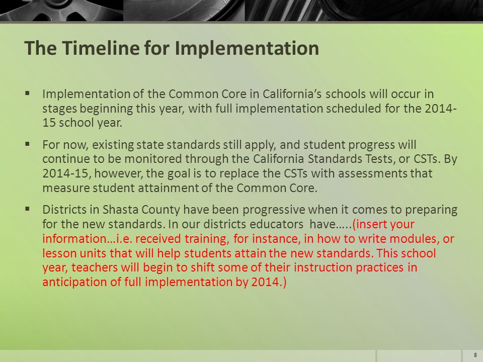 The Timeline for Implementation