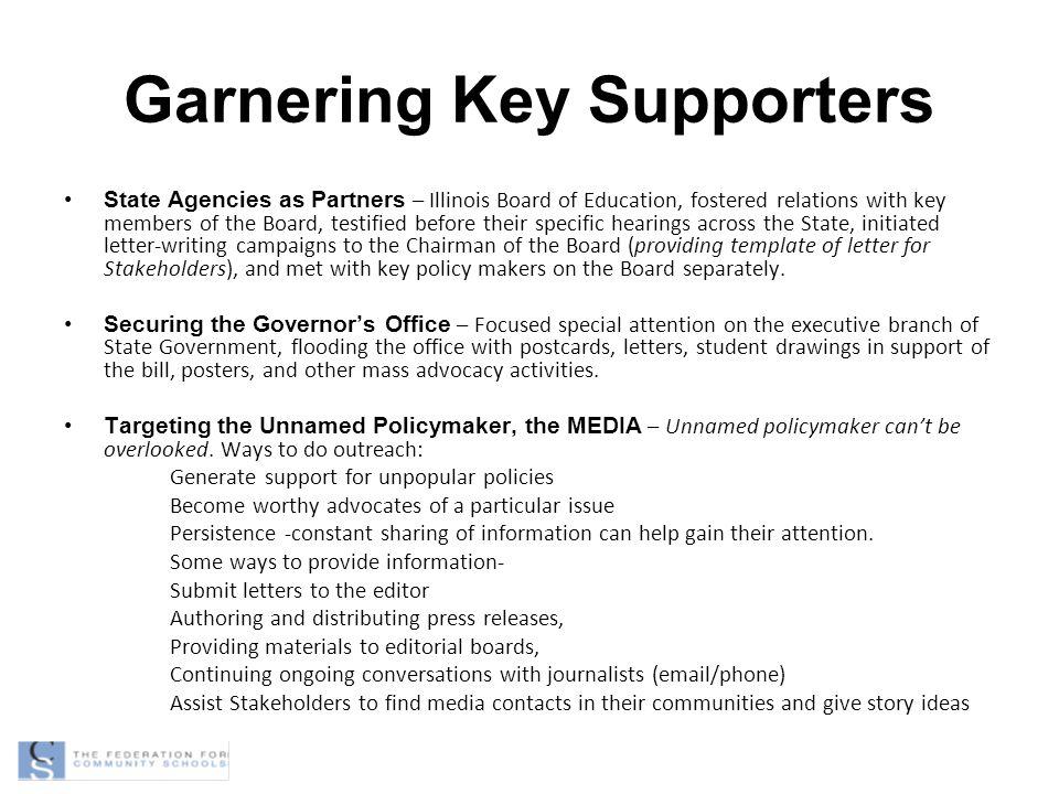 Garnering Key Supporters
