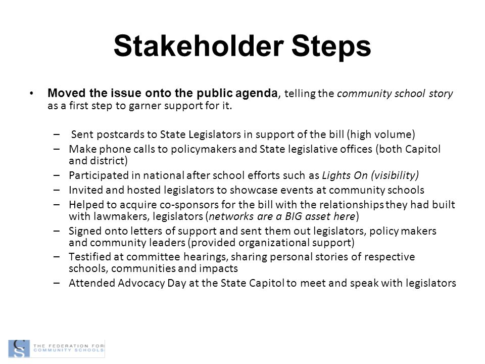 Stakeholder Steps Moved the issue onto the public agenda, telling the community school story as a first step to garner support for it.