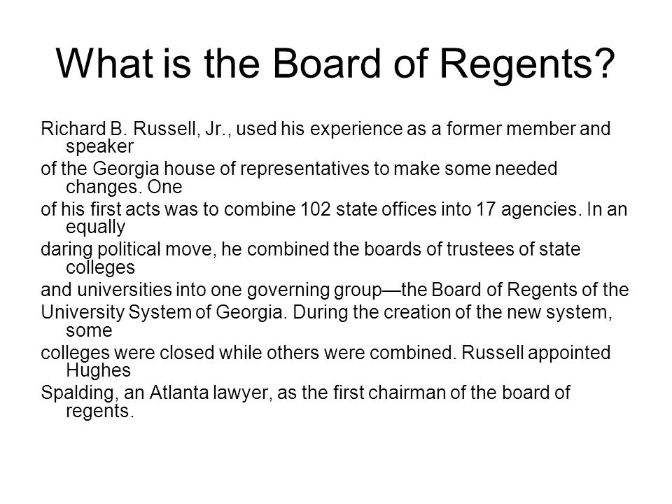 What is the Board of Regents