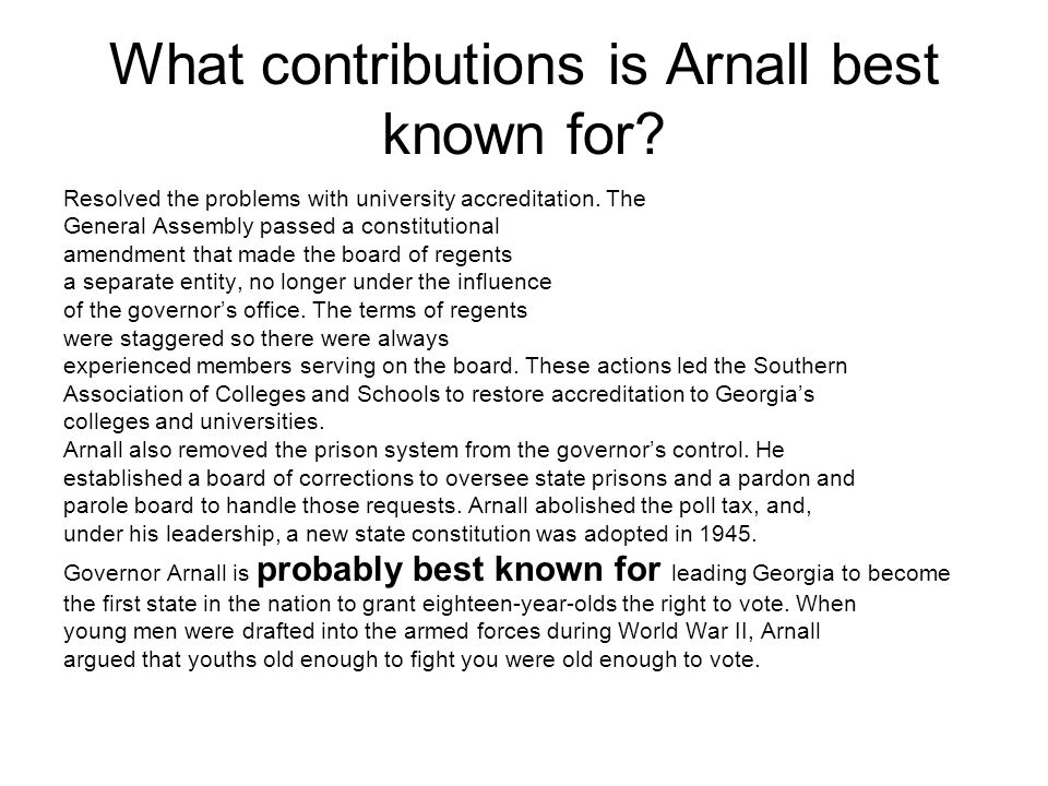 What contributions is Arnall best known for